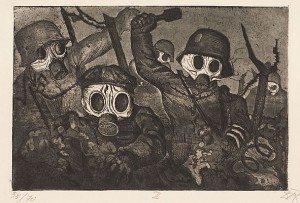 Otto Dix - Strumtruppe gehr unter Gas z knihy Der Krieg (1924)