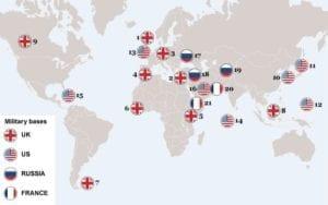 """Mapa rozmístění největších vojenských základen po světě, naprosto jasně dokazující """"recidivismus a revanšismus"""" Ruska (zdroj: The Daily Telegraph)"""