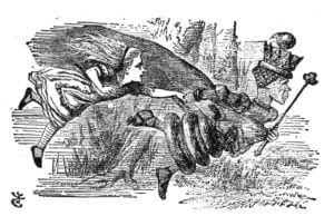 "Královna Alence: ""Abys zůstala na místě, musíš stále běžet, jak jen to dovedeš."" (Kredit: John Tenniel, ilustrace z knihy Lewise Carrolla, Through the Looking-Glass, 1871)"