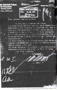 """Kopie dopisu německému atašé v Istanbulu zmiňující nabídku na spolupráci ze strany """"Národní vojenské organizace v Palestině"""""""