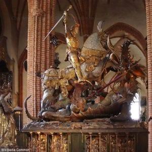 """Sv. Jiří bojující s drakem (""""Velký kostel"""" ve Stockholmu)"""