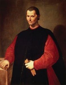 """Obraz Niccola Machiavelliho od Santiho di Tita: """"Blaho mé vlasti má přednost i před spásou mé duše."""""""